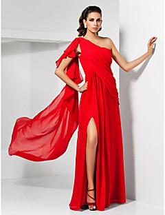 Vestito - Rosso Sera/Ballo Militare Tubino Monospalla A Terra Chiffon Taglie grandi