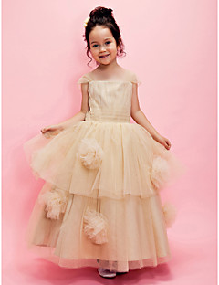 A-line / Ball Gown Ankle-length Flower Girl Dress - Tulle Short Sleeve Square / Straps with Draping / Flower(s) / Sash / Ribbon / Tiers