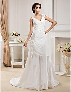Lanting Bride A-line / Princess Petite / Plus Sizes Wedding Dress-Court Train V-neck