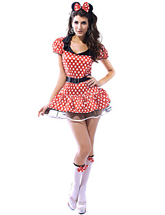 mignonne et sexy rouge à pois femmes Spandex costume de la souris robe (3 pièces)