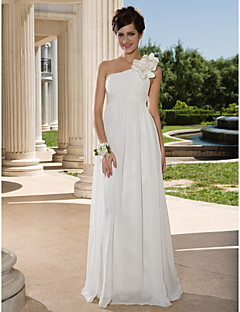 LAN TING BRIDE Sheath / Column Wedding Dress - Chic & Modern See-Through Floor-length One Shoulder Chiffon withCriss-Cross Flower