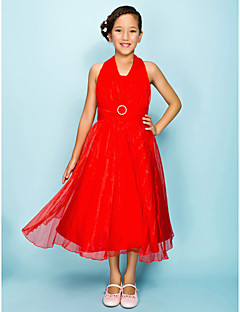 Tea-length Organza Junior Bridesmaid Dress A-line / Princess Halter Natural with Draping / Sash / Ribbon / Crystal Brooch