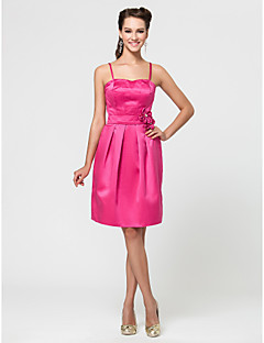 Wedding Party / Homecoming / Cocktail Party Dress - Fuchsia A-line / Princess Sweetheart / Strapless / Spaghetti Straps Knee-length Satin