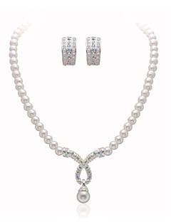 Gorgeous Clear Crystals With Imitation Pearls Wedding Bridal Jewelry Set,Including Necklace And Earrings