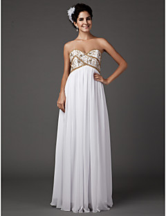 Lanting Sheath/Column Plus Sizes Wedding Dress - White Floor-length Sweetheart Chiffon