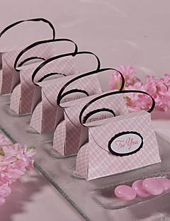 12 Stück / Set zugunsten Halter - kreative Kartenpapier Bevorzugungskästen rosa Plaid Geldbeutel