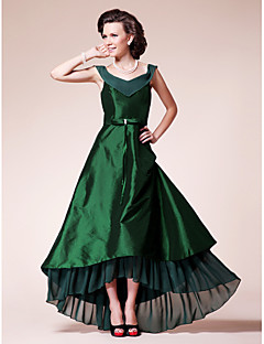 Lanting A-line Plus Sizes / Petite Mother of the Bride Dress - Dark Green Asymmetrical Short Sleeve Chiffon / Taffeta
