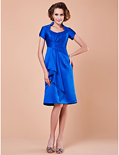 A-line Plus Size / Petite Mother of the Bride Dress Knee-length Short Sleeve Satin with Draping / Pick Up Skirt / Criss Cross