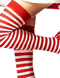Çoraplar Festival / Tatil Cadılar Bayramı Kostümleri Kırmızı / Beyaz Uzun Çorap Yılbaşı / Yeni Yıl Kadın Pamuk