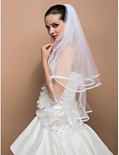 Três camadas cotovelo véu do casamento da fita de Borda