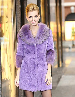 Lindo mangas 3/4 Raccoon Fur Collar Rabbit Fur Coat Noite / Carreira (mais cores)