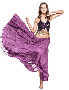 Belly Dance Skirts Women's Performance Linen Pleated 1 Piece Fuchsia / Pink Belly Dance / Performance Spring, Fall, Winter, Summer Dropped