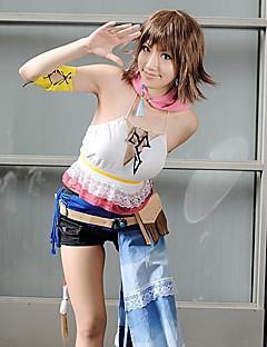 geinspireerd door Final Fantasy Yuna Video Spel Cosplay Kostuums Cosplay Kostuums Patchwork  Wit Korte mouwVest / Korte broeken / Shawl /