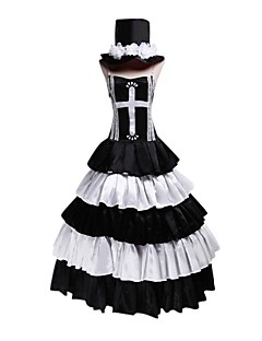 Inspired by One Piece Perona Anime Cosplay Costumes Cosplay Suits / Dresses Vintage White / Black Sleeveless Dress / Hat