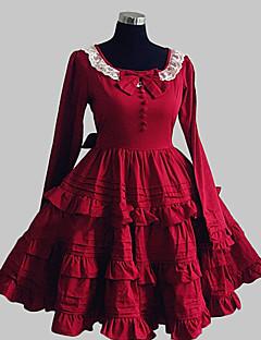 One-Piece/Dress Sweet Lolita Princess Elegant Cosplay Lolita Dress Solid Bowknot Lace Long Sleeve Knee-length Dress For Cotton