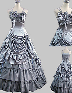 Ermeløs Floor lengde Gray Satin Princess Lolita Dress