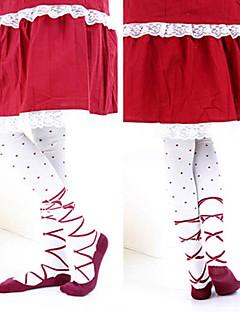 Socks/Stockings Sweet Lolita Lolita Lolita Red / White Lolita Accessories Stockings Print For Women Cotton