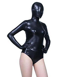 Negro brillante metálico Zentai Lycra Leotardo mitad Suit