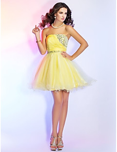 Cocktail Party Homecoming Prom Sweet 16 Dress - Open Back Short A-line Ball Gown Princess Strapless Short / Mini Chiffon Tulle with