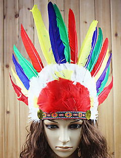 Holiday Jewelry Cosplay Festival/Holiday Halloween Costumes Red Print Headpiece Halloween / Carnival / New Year Unisex Feather