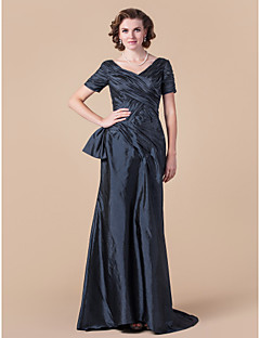 LAN TING BRIDE A-line Plus Size Petite Mother of the Bride Dress - Vintage Inspired Floor-length Short Sleeve Taffeta with Criss Cross