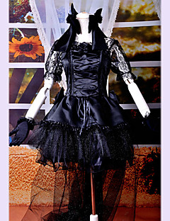 Long Tailed Short Sleeve Knee-length Black Satin and Lace Gothic Lolita Dress