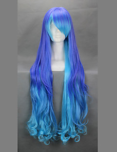 פאות קוספליי Vocaloid Megurine Luka כחול / סגול ארוך אנימה / משחקי וידאו פאות קוספליי 90 CM סיבים עמידים לחום נקבה