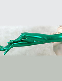 Shiny Metallic Green Shoulder Length Gloves (2 kpl)