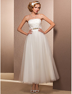A-line / Princess Petite / Plus Sizes Wedding Dress-Ankle-length Strapless Tulle