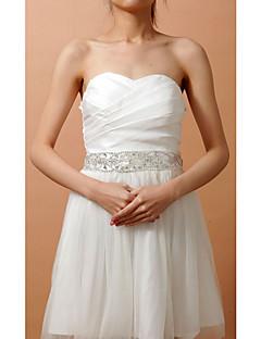 Elastic Satin Wedding / Party/ Evening Sash-Beading / Crystal Women's 82 ½in(210cm) Beading / Crystal
