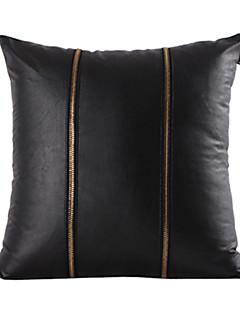 Or Zipper Cuir Noir Housse de coussin décoratif