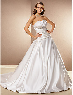 Ball Gown Plus Sizes Wedding Dress - Ivory Cathedral Train Strapless Satin