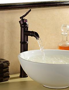 Art Deco/Retro Pesuallas Yksi kahva yksi reikä in Oil-rubbed Bronze Kylpyhuone Sink hana