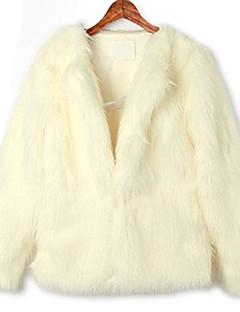 Langærmet krave Office Faux Fur Coat (Flere farver)