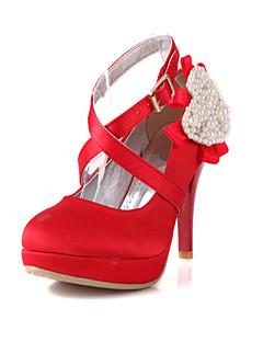 Feminino Wedding Shoes Saltos Saltos Casamento Preto/Vermelho