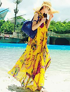 Beach Swing Dress,Print Maxi Sleeveless Yellow Summer Inelastic Thin