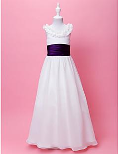 A-line/Princess Floor-length Flower Girl Dress - Chiffon Sleeveless