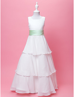 A-line/Princess Floor-length Flower Girl Dress - Chiffon/Satin Sleeveless