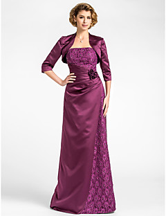 LAN TING BRIDE Sheath / Column Plus Size Petite Mother of the Bride Dress - Wrap Included Floor-length 3/4 Length Sleeve Lace Satin with