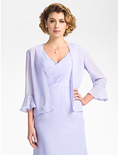 Wedding  Wraps Coats/Jackets 3/4-Length Sleeve Chiffon Sky Blue Wedding / Party/Evening Bell Open Front