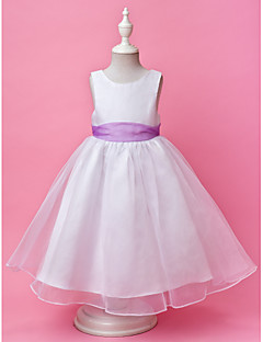 Flower Girl Dress - Linha-A/Princesa Longo Sem Mangas Cetim/Organza