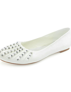 Mode Satin Flat Heel Flats med strass Bröllop Shoes (Fler färger)
