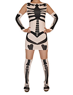 White and Black Skeleton Pattern Lycra Dress
