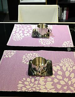 Ensemble de 4 napperons en coton floral pourpre