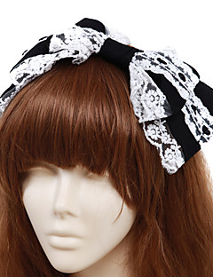 Handmade Black and White Cotton Bow  Classic Lolita Headband