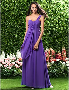 Lanting Bride® Floor-length Chiffon Bridesmaid Dress Sheath / Column One Shoulder Plus Size / Petite with Ruffles / Criss Cross