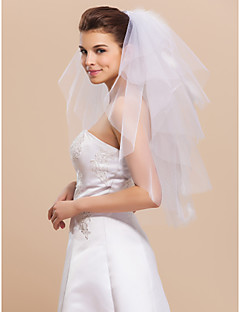 Beautiful Four-tier Elbow Cut Edge Wedding Veils With Feather And Rhinestone