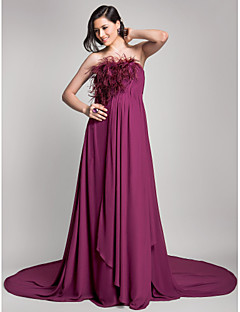 TS Couture® Formal Evening Dress - Open Back Maternity A-line Strapless Court Train Chiffon with Draping / Feathers / Fur