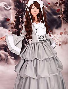 Flare Sleeve Floor-length Gray Satin Classic Lolita Dress