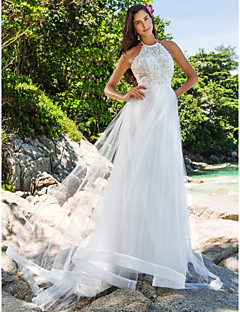 Lanting Bride® A-line / Princess Petite / Plus Sizes Wedding Dress - Chic & Modern / Glamorous & Dramatic Chapel Train High NeckLace /